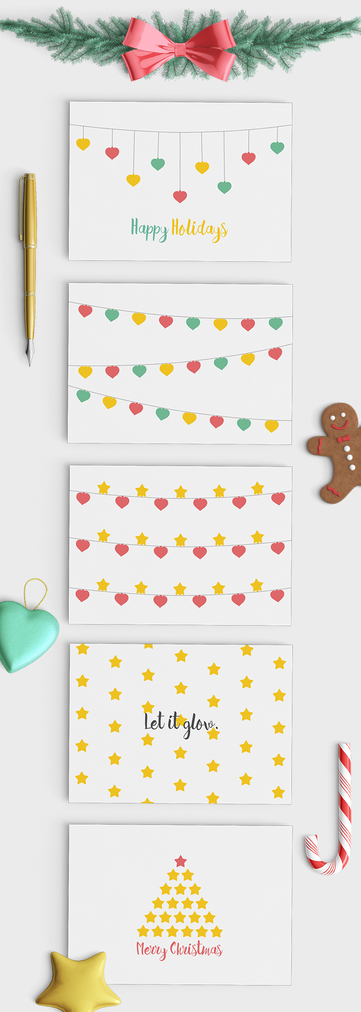 Mockup of the printable Christmas cards