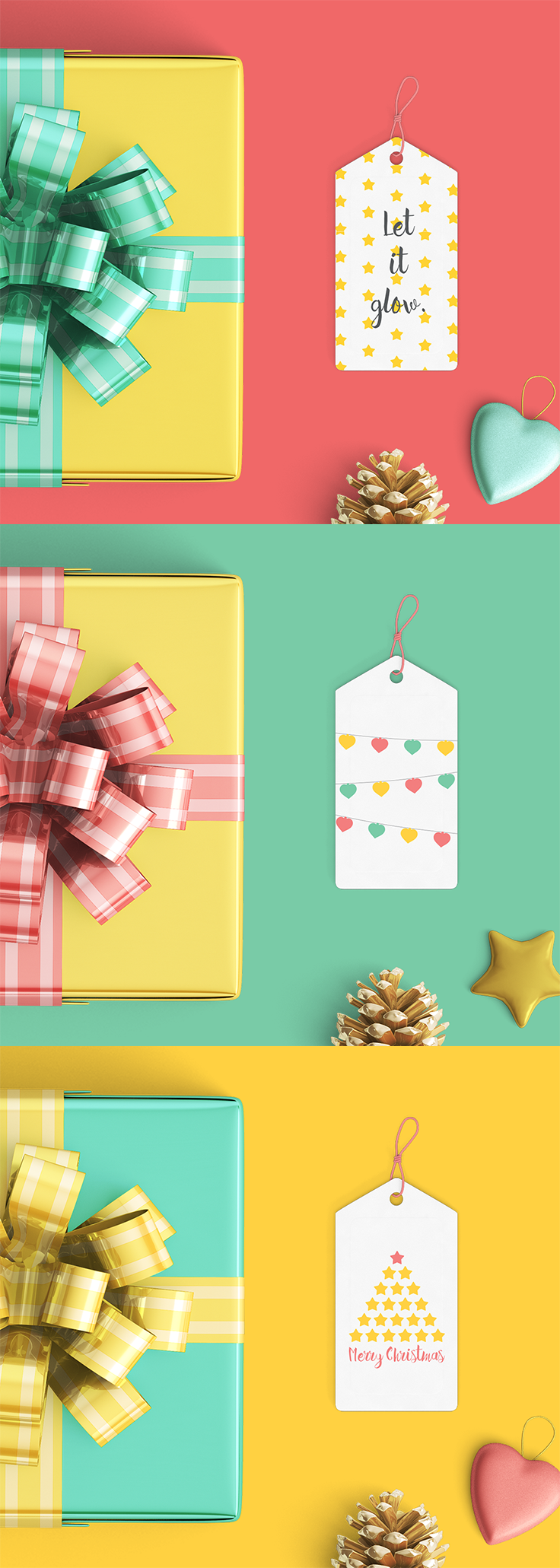 Mock up of the printable gift tags